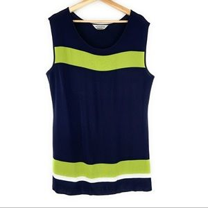 Misook Striped Sleeveless Green and Blue Top